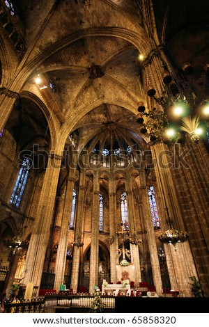 Gothic interior of Cathedral of Saint Eulalia in Barcelona, Spain