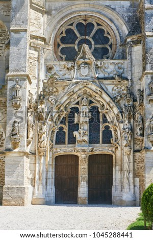 Gothic medieval church in Rumilly-les-Vaudes, France   Photo stock ©