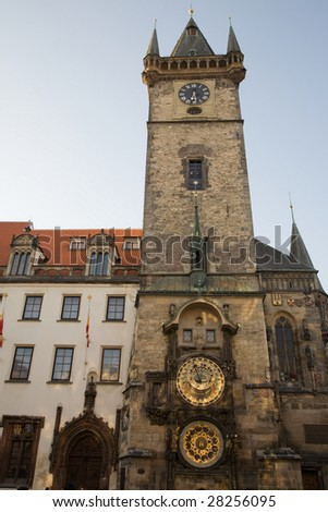 Gothic Old Town Hall in Prague with Unique astronomical clock supplemented with a round calendarium including zodiac signs.