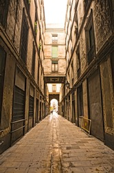 Gothic quarter in the morning. Empty alleyways in Barcelona, Spain