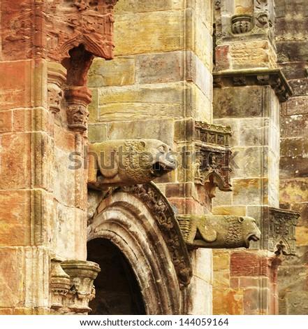 gothic Rosslyn chapel gargoyles