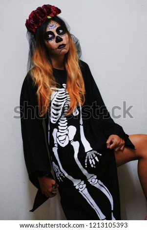 2072067a749 Gothic Skull Make up Creepy Ghost Young Female Woman Girl with Black Dress  and red Flower