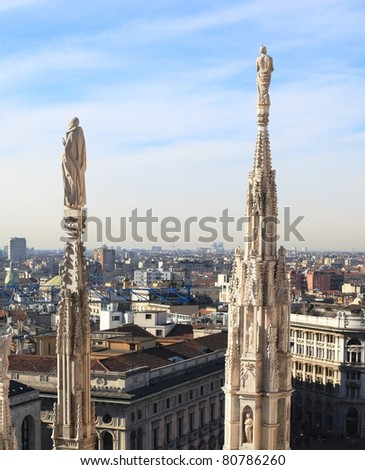 Gothic spires, Milan landscape