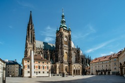 Gothic St. Vitus Cathedral within the Prague Castle complex,Czech Republic.Most important famous monument in city.Spiritual historical symbol of Czechia with Royal Crypt and chapels.European heritage