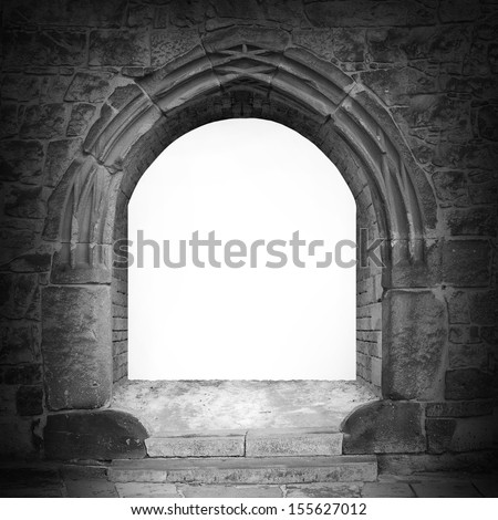 Gothic stone gate with space for your text.
