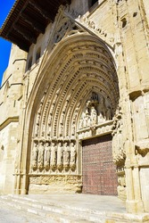 Gothic style arch of the Santa Iglesia Catedral in Huesca, Aragón.