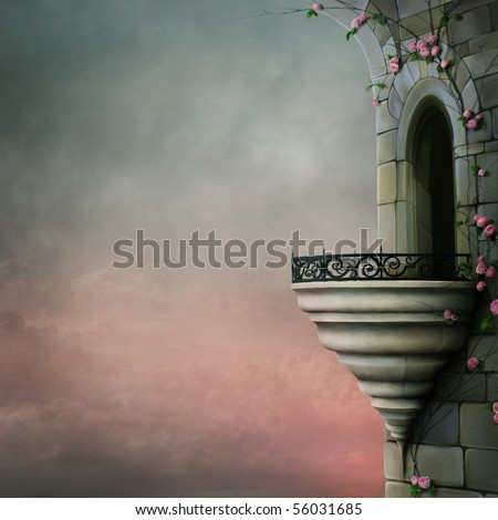 Gothic tower and the beautiful roses