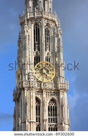 Gothic tower of Cathedral of Our Lady in Antwerp, Belgium