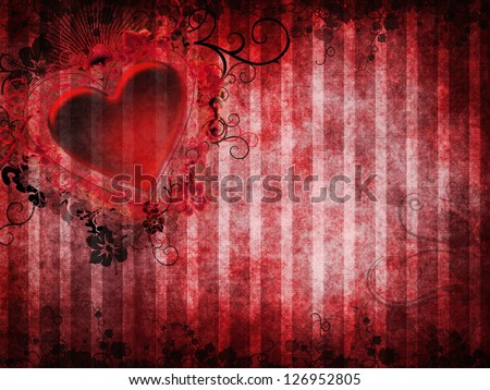 Gothic Valentine background with a red heart