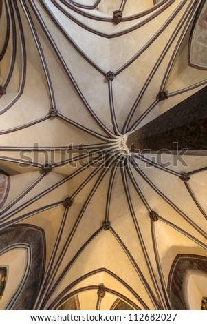 Gothic vault in Malbork castle in Pomerania region of Poland also known as Marienburg