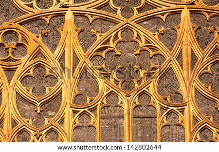 Gothic window of St.Vitus cathedral in Prague. Czech republic.