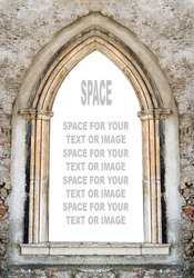 Gothic window with space for your text.