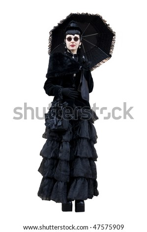 Gothic woman on a white background