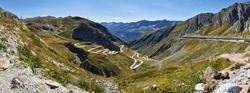 Gotthard Pass, Panorama of the old Via Tremola and the new Gotthard Tunnel