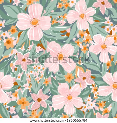 Gouache seamless spring flower pattern in hand-painting style. Elegance floral female texture. Summer repeat natural design.