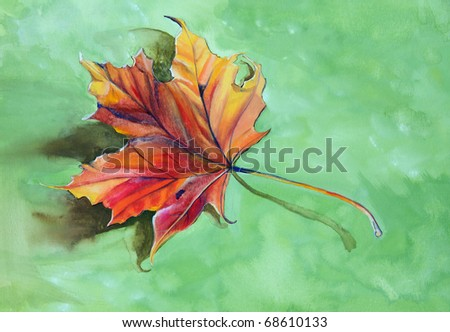 Gouache / watercolour painting of autumnal leaf, by contemporary artist Becky Stares