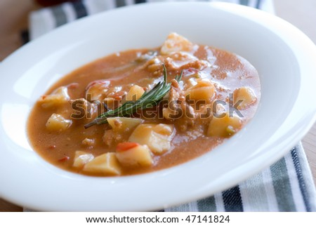 Goulash on a plate - stock photo