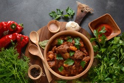 Goulash traditional Hungarian Beef Meat Stew or Soup with vegetables and tomato sauce, Comfort winter or autumn foods concept