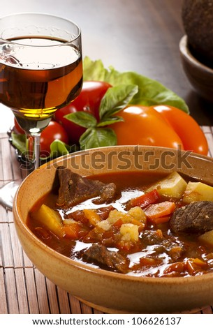 Goulash with  beef, potatoes and red pepper