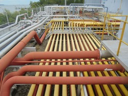 Goup of Line Pipe at storage Petrolium