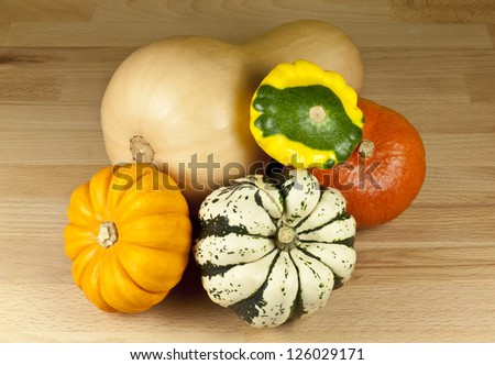 Gourds of different color and shape.