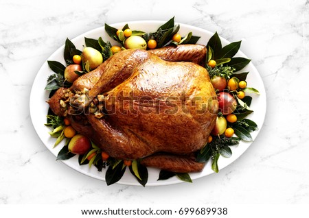 Gourmet Baked Turkey, plated and garnished. White marble stone surface. Top-view, flat-lay
