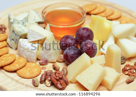 Gourmet cheese, restaurant food background
