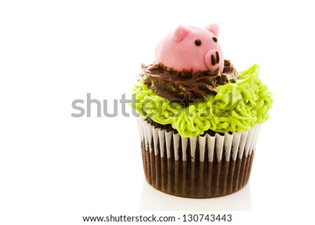Gourmet chocolate Easter cupcakes individually decorated. - stock photo