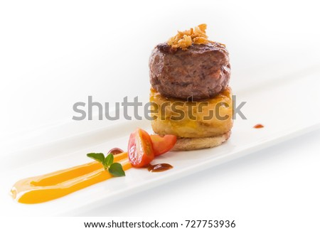 gourmet cuisine. Gourmet burger on spanish potato omelet