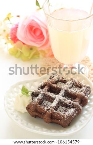 Gourmet dessert, chocolate waffle