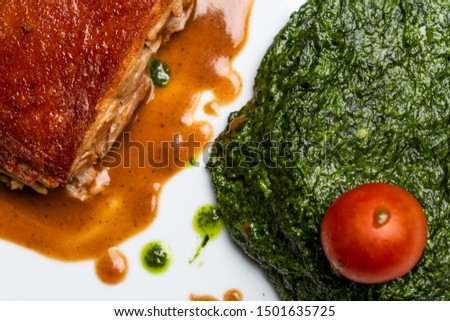 Gourmet dish with sprinkled viewed from above.