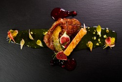 Gourmet duck dish with onion jam and figs