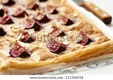 Gourmet Fig and Almond Tart - stock photo