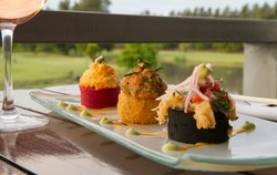 Gourmet food. Elegant restaurant dish presentation. Closeup of salmon sushi rolls dish, served outside with a natural park and lake background.