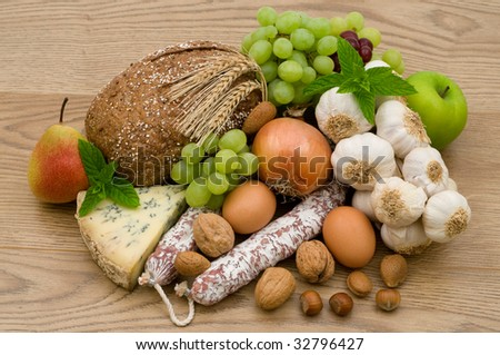 gourmet food on the wooden background