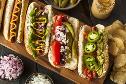 Gourmet Grilled All Beef Hots Dogs with Sides and Chips