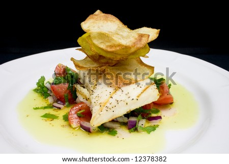 Gourmet grilled fish entree stock photo 12378382 for Oak city fish and chips menu
