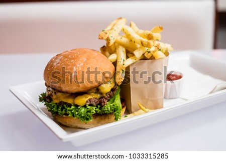 gourmet hamburger and fries