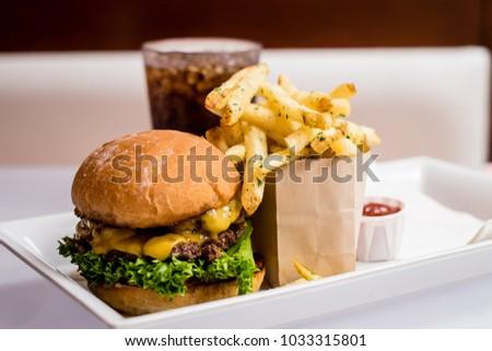 gourmet hamburger and fries