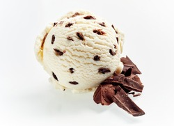 Gourmet Italian stacciatella chocolate and vanilla ice cream with flakes of chopped candy and cacao beans as ingredients alongside isolated on white for advertising