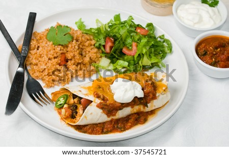 Gourmet Mexican taco, burrito or enchilada, with black beans, chicken, lettuce, tomatoes, cheddar cheese, salsa, sour cream, and jalepeno peppers, accompanied by salad, spanish rice and beer