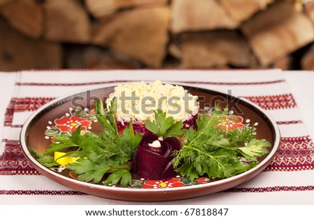 "Gourmet Russian herring salad (""coated"")"