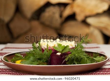 "Gourmet Russian herring salad (""coated"")"
