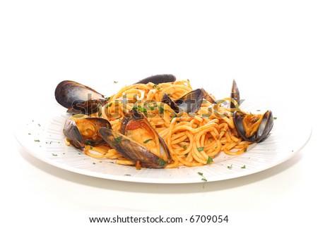 gourmet seafood pasta dinner