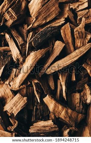 Gourmet wood chip texture. Golden wood for smoking food ストックフォト ©