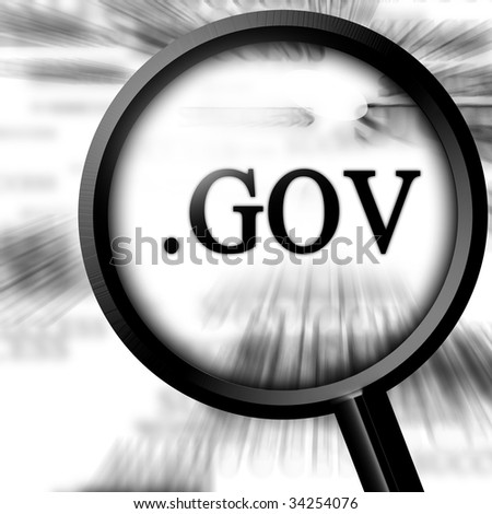 gov with magnifier on a white background - stock photo