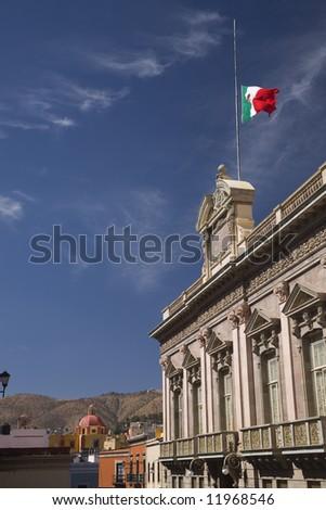 Government Building Church, Street, Flag, Guanajuato Mexico, Blue Sky
