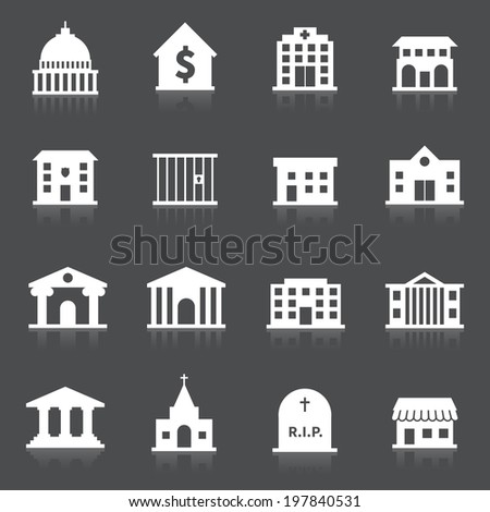 Government building icons set of hospital fire station cemetery isolated  illustration