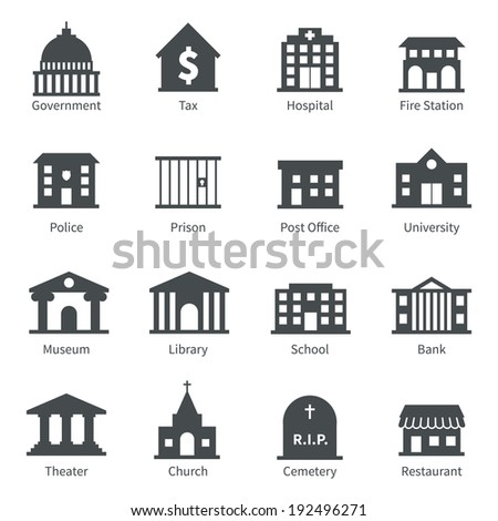Government building icons set of police  museum library theater isolated  illustration