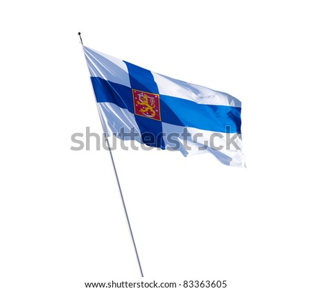 Government Flag of Finland and national coat of arms. Isolated